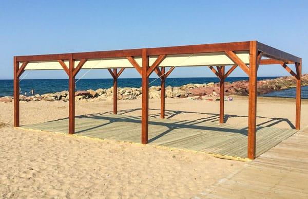 Pergola de madera modelo olas fabricado por Maderas Menur